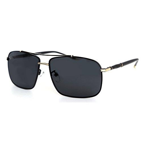 de 100 de polarizadas livianas ultra Co Dorado rectangulares UV Negro amp; Gafas sol protección 60 mm Natwve tvzRx