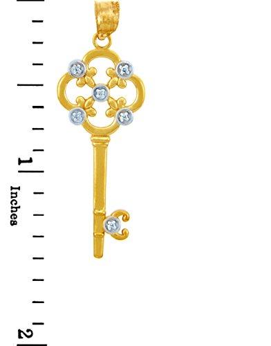 14 Carat Valentines SonLa Coeur Diamants - Or Key- Avec Diamants et Fleur de Lis (w Chaine) Pendentif