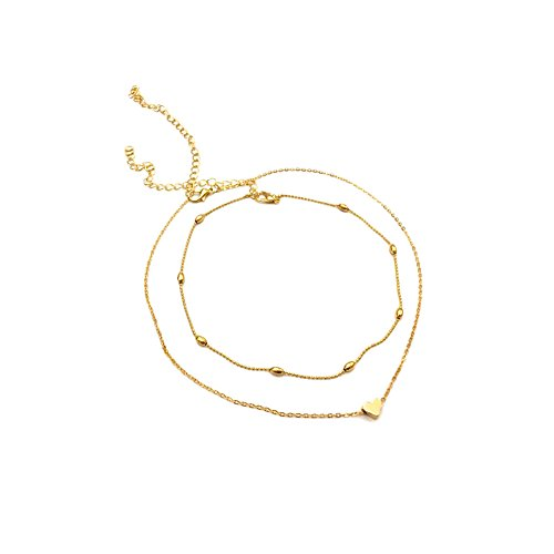 ouble Layer Love Heart Choker Chain Necklace Gold Silver Color Clavicle Necklace (Gold Tone) ()