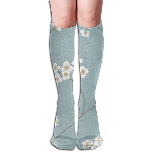 (YangAme Radiance Blue Cream Pattern 50 Full Comfort Knee High Socks Cotton Long Knee High Socks)