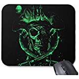 Green Glowing Skull Mouse Pad-9.8x7.8 in