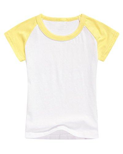 - Boys' Baseball Tee Girls' Raglan Short Sleeve Jersey T Shirts Unisex Baby Kid Tops Yellow
