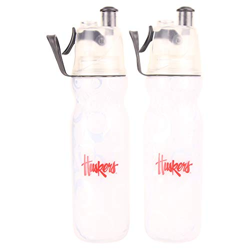 NCAA Mist N Sip 20-Ounce Squeeze and Spray Insulated Water Bottle 2-Pack (Nebraska Cornhuskers) ()
