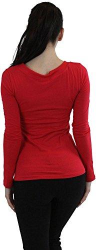 Para Mujer Larga Rojo De Pico Cuello Manga Tobeinstyle Camiseta xpwOn6