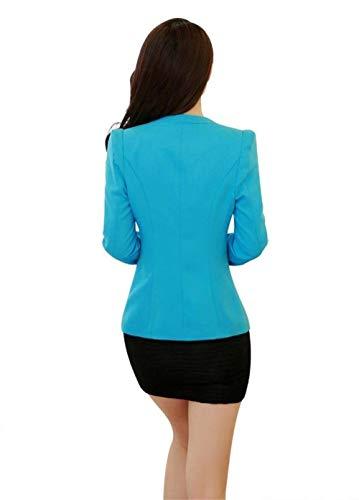Primaverile Giacca Giaccone Ufficio Blau Tasche Giovane Con Blazer Da Manica Fashion Fit Button Lunga Donna Reticolo Tailleur Chic Giacche Cappotto Business Elegante Vintage Autunno Slim dtqFFx1