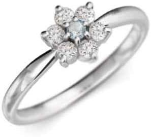 アクアマリン 天然ダイヤモンド 18金ホワイトゴールド リング フラワー レディース 約0.25ct 15.5号