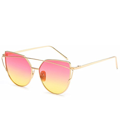 Frame Color Lens Lens Femmes Frame Blue Pink Silver de Gold Lunettes Yiyepoetry Soleil pour xaOWzw0WXq