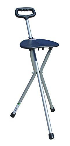 Essential Medical Supply Three Legged Seat Cane with Handle - Cane Folding Stool