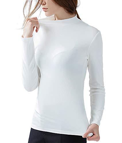 LOVFEE Women Basic Cotton Slim Fit Long Sleeve Mock Half Turtleneck T Shirt ()