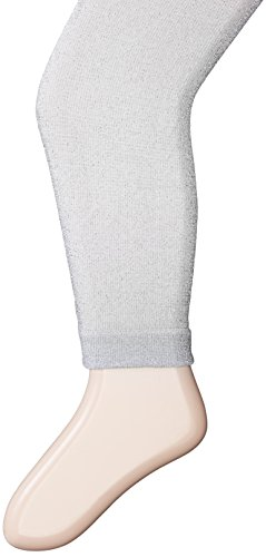 Jefferies Socks Big Girls' Sparkly Footless Tights, Silver, 6-8 Years -