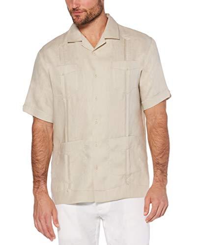 Cubavera Men's Big Short Sleeve 100% Linen Cuban Camp Guayabera Shirt, Natural, 3X-Large Tall (Best Guayaberas In Miami)
