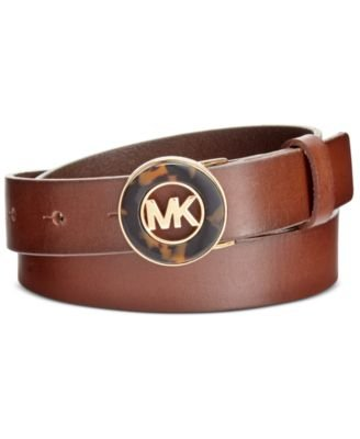 MICHAEL Michael Kors Belt With Tortoise Plaque Luggage L (Michael Kors Brown Belt)