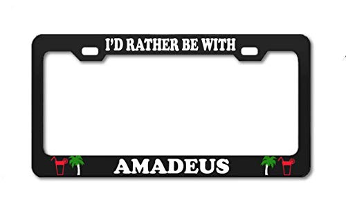 Product Express I'd Rather BE with Amadeus Black United States License Plate Frame Boy Girl Name