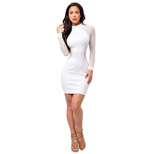 Minisoya Women Bodycon Dress Long Sleeve Evening Party Club See Through Mesh Sheer Mini Pencil Dress (White, M) (Special Sheer Occasion)