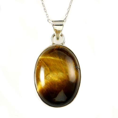 Sterling Silver Natural Oval Brown Tiger Eye Totally Handmade Pendant Necklace 16+2 inches Chain