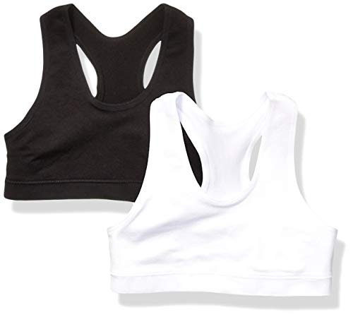Amazon Essentials Girl's 2-Pack Active Sports Bra, White/Black, S (6/7) (Teens Sport For Bra)