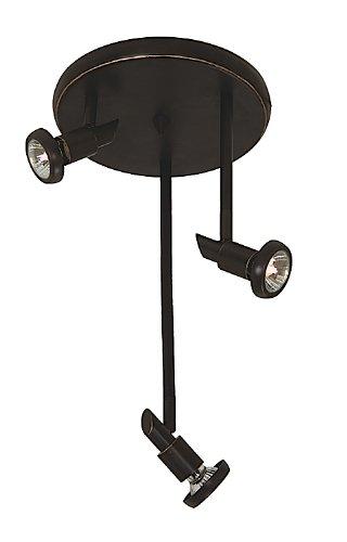 Artcraft Lighting Shuttle 3-Light Round Canopy Track Light, Oil-Rubbed Bronze