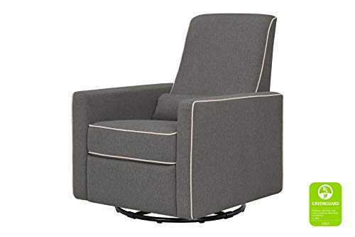 DaVinci Piper Recliner and Swivel Glider, Dark Grey with Cream Piping