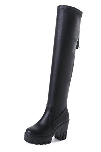 YFF Weihnachtsgeschenke Frauen Martin Stiefel grobe Heel Stiefel über die Knie elastisch lange Rohr High Heel komfortabel und einzigartig Black