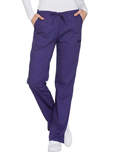 Cherokee Workwear Core Stretch WW130 Mid Rise Drawstring Pant Grape M Petite