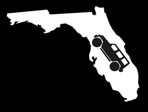 FL State With Jeep 5' Decal {WHITE}-, Florida Jeepin 4x4, Funny Jeep Decal, Wrangler, Rubicon, Sahara, Liberty, Commander, Willys, Patriot, Off Road, Jeep Accessories, Jeep window sticker, jeep girl SixtyTwo24