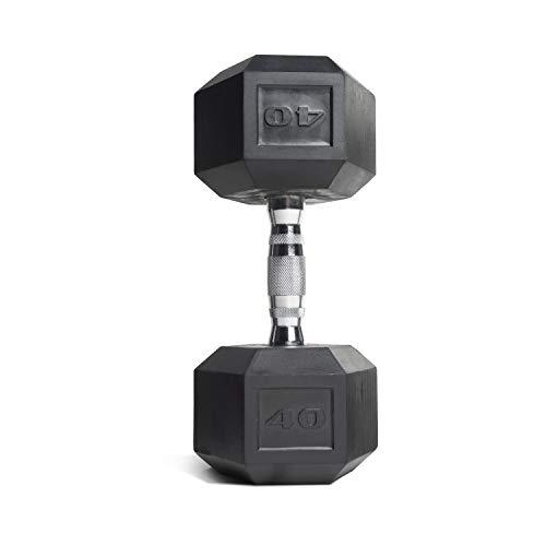 (CAP Barbell Set of 2 Hex Rubber Dumbbell with Metal Handles, Pair of 2 Heavy Dumbbells Choose Weight (5lb, 8lb, 10lb, 15lb, 20 Lb, 25lb, 30lb, 35lb, 40lb, 50lb) (40lb x 2))