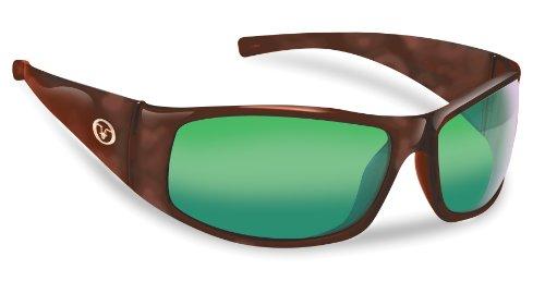 Tortoise Shiny Amber Glass (Flying Fisherman Magnum Polarized Sunglasses (Shiny Tortoise Frame, Amber/Green Mirror Lenses))