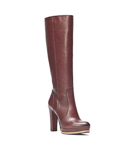 Bottes Bout Pointu Et Haut En Poilei Plate Talon Rouge Femmes Elva forme Genou Haut Chaussures Brillante Bloc Lisse Cuir Et Bordeaux YYagFxZw