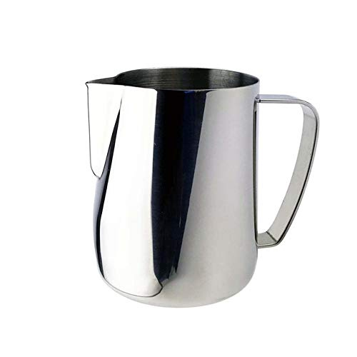 Milk Jug 0.3-0.6L Stainless Steel Frothing Pitcher Pull Flower Cup Coffee Milk Frother Latte Art Milk Foam Tool Coffeware, Capacity:600ml Premium Material (Color : Silver) by SHIFENX