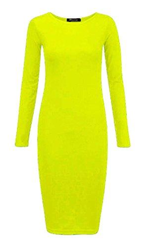 Rimi Hanger Womens Plain Long Sleeve Stretch Midi Dress Ladies Bodycon Jersey Maxi Dress Yellow XX - Hanger Plain
