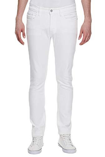 (MEIKESEN Men's White Skinny Stretch Jeans Straight Slim Fit Fashion Denim Cotton Jeans 28)