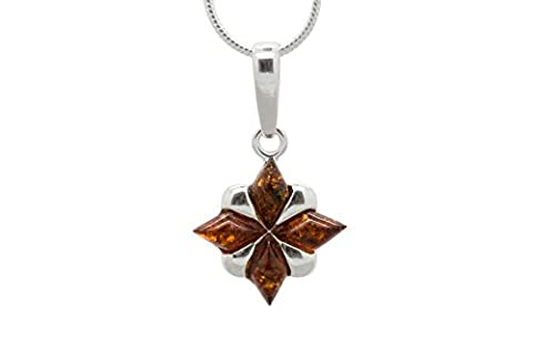 925 Sterling Silver North Star Pendant Necklace with Genuine Natural Baltic Cognac Amber. Chain (Unique Amber Pendant For Women)