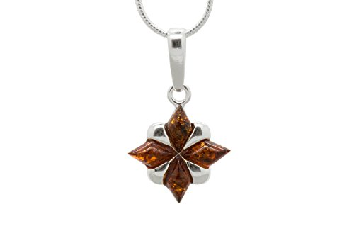 925 Sterling Silver North Star Pendant Necklace with Genuine Natural Baltic Cognac Amber. Chain included