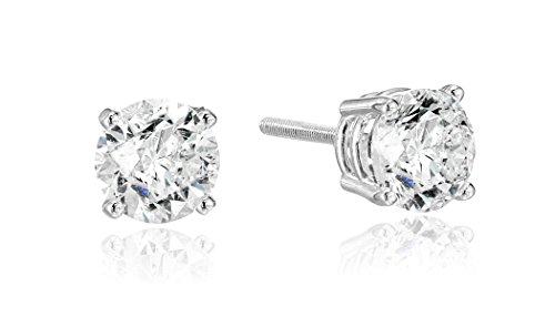14k White Gold Round Cut Diamond Screw Back and Post Stud Earrings (1cttw, H-I Color, I2 Clarity)