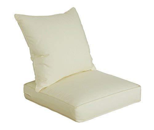 SewKer] Indoor/Outdoor Patio Deep Seat Cushion Set Simple Modern Creamy-White ()