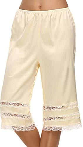 (TUSFTAY Women's Lace Trim Culotte Slip Snip-it Pettipants Bottom Split Skirt Bloomers Lingerie Satin Pant Slip (L, Beige))
