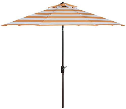 Safavieh PAT8004C Outdoor Collection Iris Fashion Line Auto Tilt Umbrella, 9 , Orange White
