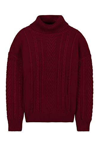 Women's Warm 100% Cotton Polo Neck Ribbed Knit Pullover Sweater Jumper Red XL