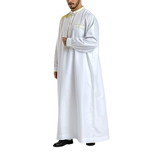 Zhhlinyuan Muslim Embroidery Dress Business Saudi Arabic Thobe Long Sleeves for Men White