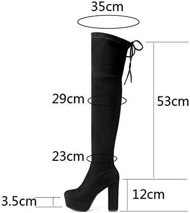 NA Gel Nail High Boots Frauen, Damen Wildleder Stretch Plateaustiefel, Round Toe Chunky High Heels Damenschuhe,Lila,40