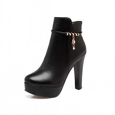 RTRY Zapatos De Mujer De Piel Sintética Pu Novedad Moda Otoño Invierno Confort Botas Botas Chunky Talón Puntera Redonda Botines/Botines De Strass US5 / EU35 / UK3 / CN34