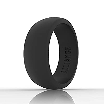 Alliance Silicone Wedding Ring Band for Men ★ Durable and Flexible ★ Made for Those with an Active Lifestyle ★ 8.7 mm Wide (Black, Grey, and Blue)