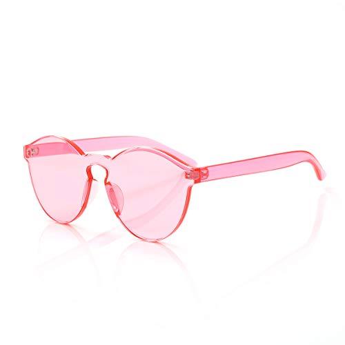 Rimless Tinted Sunglasses HANZee Oversized Women Men One Piece Candy Color Transparent Round Eyewear Super Retro Fashion Eyeglasses (Pink)