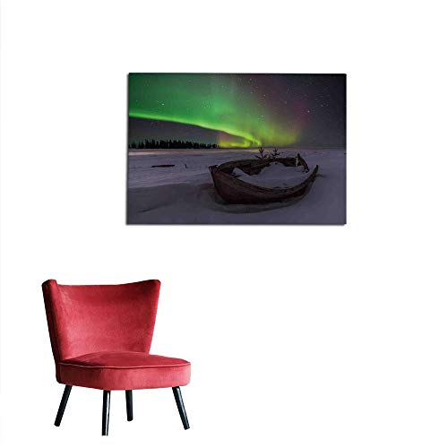 - kungfu Decoration Painting Post Aurora Borealis,Winter Landscape with Wooden Boat Galaxy Illumination Nobody Cosmos Image,Multicolor Art Poster W35.4 x L23.6
