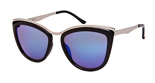 Edge I-Wear Chic Cat Eye Sunnies s/Color Mirror Lens 32210-REV-4(BLK+M.SL.bu) (Mirrored Sunnies)
