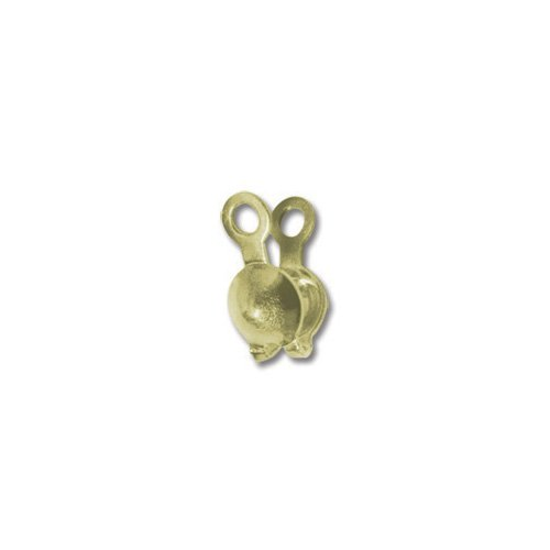 Bead Tip Clam Shell with double loop Gold Color - Cup Bead Tips Double