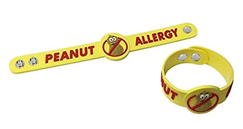 2 Pack - Adjustable Size Peanut Allergy Bracelets for Kids - for Wrists or Even as A Tag on A Bag or Backpack - for Ages 4 and up - Strong and Durable