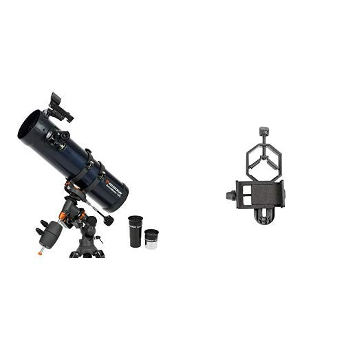 Celestron 31051 AstroMaster 130EQ MD Telescope with Basic Smartphone Adapter 1.25'' Capture Your Discoveries by Celestron
