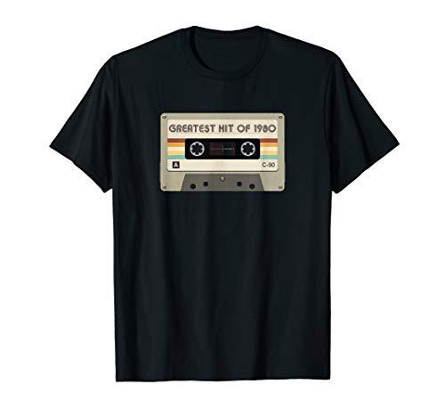 Greatest Hit Of 1980 Birthday Retro Cassette Tape Graphic T-Shirt