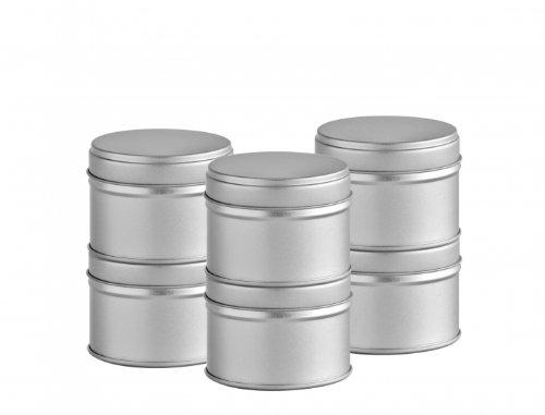 12 kleine Gewürzdosen mit extra Aromadeckel, Ø 6,6cm, Höhe 4,6cm, stapelbar, inkl.12 Etiketten